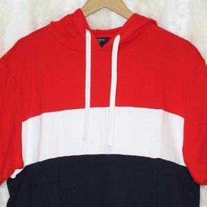 F21 Men's Colorblock Hoodie Red White Black NWT